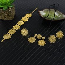 Ethiopian Jewelry sets Golden Africa Necklace Earrings Trendy Jewellery Sudan/Nigeria/Congo/Trinidad & Tobag wedding Items(China)