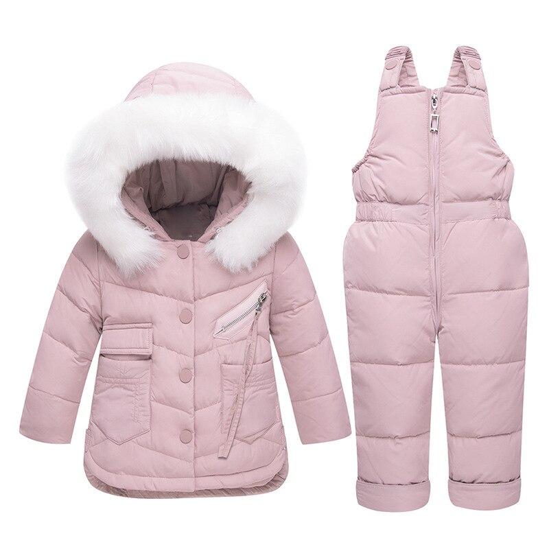 2018 Hiver enfants Vêtements Ensemble Bébé Doudoune pour Filles Garçons Manteau + Salopette Chaud Enfants Snowsuit Vêtements Épais Ski combinaison de neige