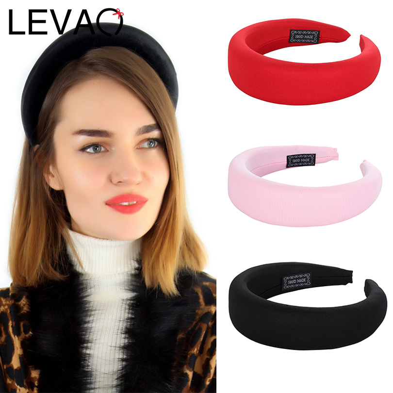 LEVAO New Fashion Western Style Solid Colors Thicken Padded Hairbands Bezel Turban Women Headbands Girls Accessories   Headwear