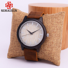 SIHAIXIN Minimalist Wooden Watch Male Bamboo Clock Leather Men White Quartz Watches As Man Luxury Gift Box Accept OEM Customize