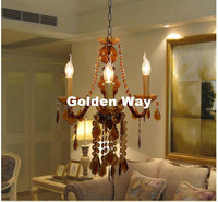 Free Shipping Amber Color Tiffany Pendant Lamp 3 5 9 12 Heads Lights Vintage Acrylic Crystals