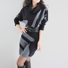Free Shipping New Design Autumn Winter Ladies Fashion Batwing Sleeve Sweater Dress Turtleneck Plus Size Stripes Knitted Dress