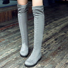 Western Style Brown Over The Knee Boots 2016 PU Leather+Flock Women Shoes Flat Heel Women Motorcycle Boots Size 34-42