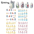 Rolabling Princess Cartoon snow White water transfer nail sticker decal on finger nails stickers decoration for nail art