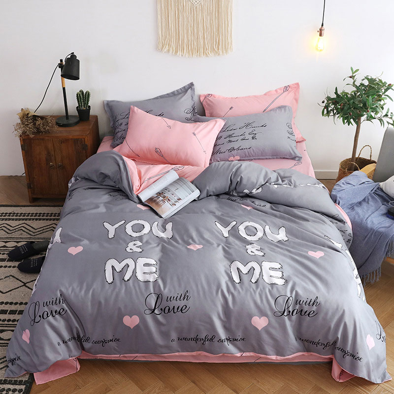 Gray Pink 4pcs Girl Boy Kid Bed Cover Set Duvet Cover Adult Child Bed Sheets And Pillowcases Comforter Bedding Set 2TJ-61005