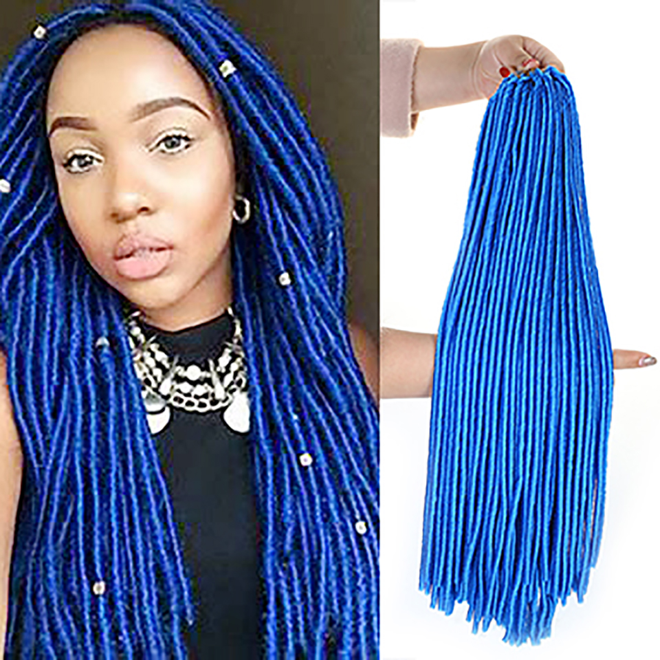 "WTB 20"" Faux Locs Synthetic Braiding Hair Extensions Crochet Braids Hairstyles Natural Black Brown 24roots/Pack"