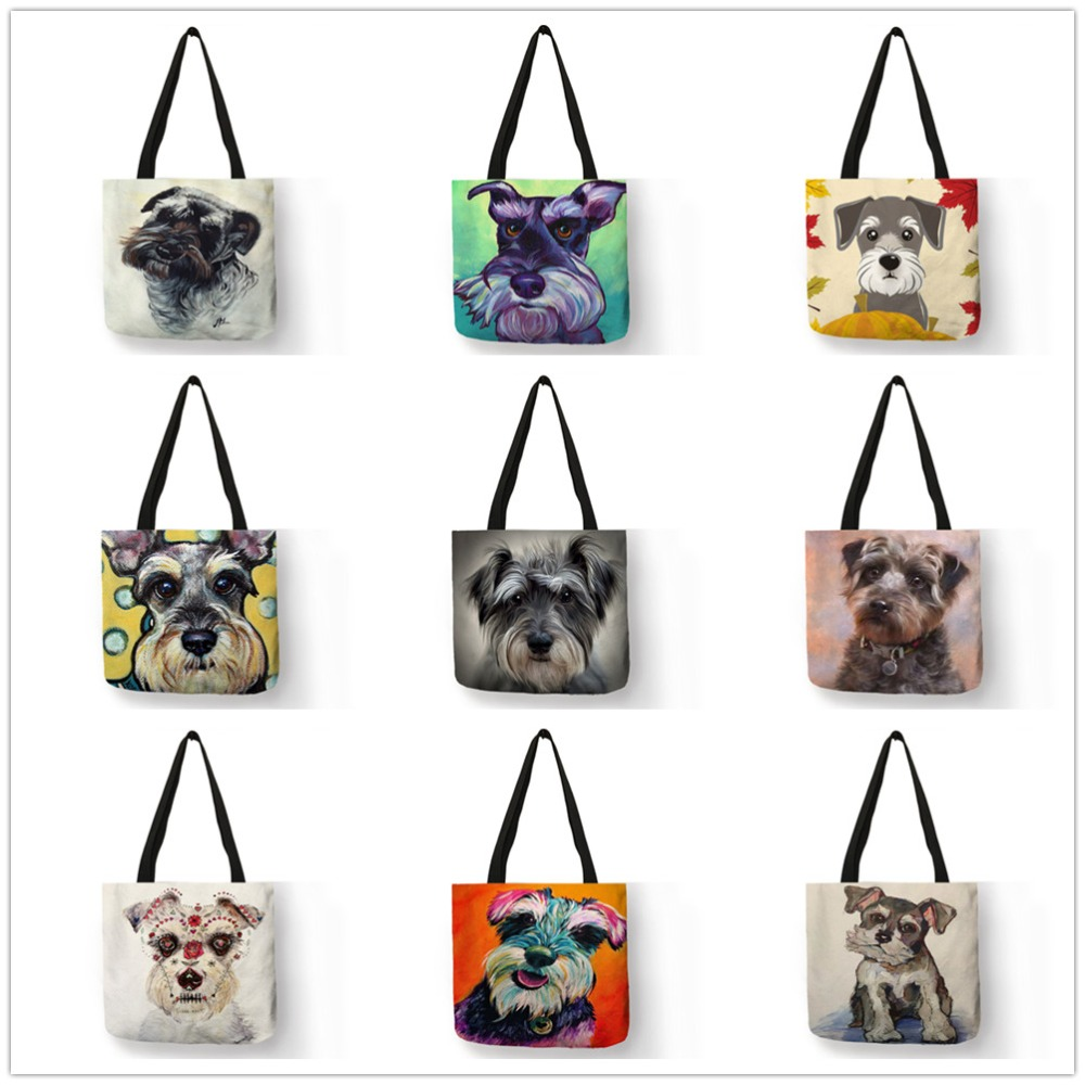 Dropship Schnauzer Dog Painting Handbags For Women Lady Shoulder Bag Casual Shopping Traveling School Bags Large Capacity