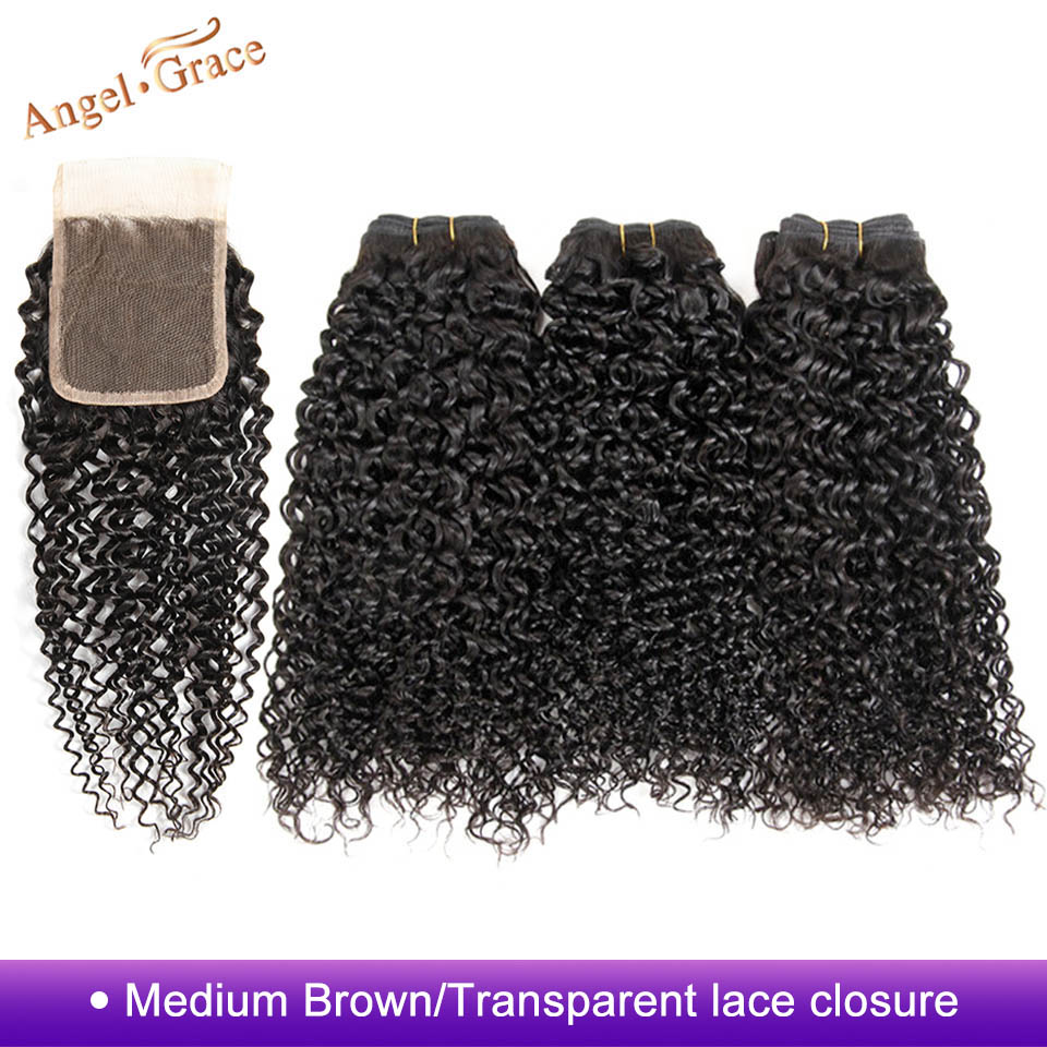 Angel Grace Hair Peruvian Hair Bundles With Closure Kinky Curly Weave Human Hair With Closure Remy Hair 3 Bundles With Closure-in 3/4 Bundles with Closure from Hair Extensions & Wigs    1