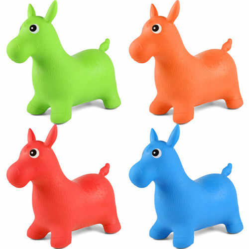 1Pcs Kids Animal Space Hopper Inflatable Jumping Horse Ride-on Bouncy Hopper Toys Random Color Extra Thickness Toy for Kids