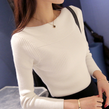 Autumn long sleeve boat neck knitted pullover