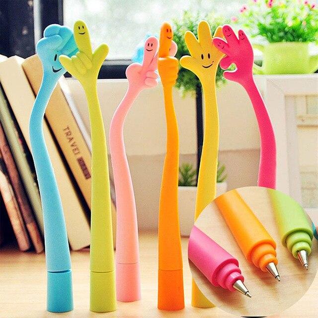 Lindo kawaii novedad dibujos animados cara sonriente flexión flexible suave dedo forma bolígrafo niño niñas regalo escuela suministros de oficina