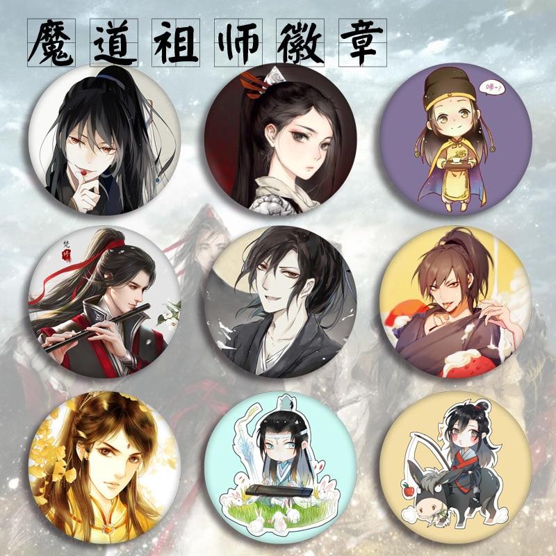 New Mo Dao Zu Shi Figure Model Brooch Pins Broches Round Tinplate Badge Fans Gift Children Toy