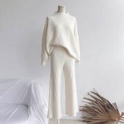 2018 г. новые зимние Для женщин свитер два комплекта корейский стиль утолщаются Фонари длинным рукавом микро-la брюки + свитер комплект из двух