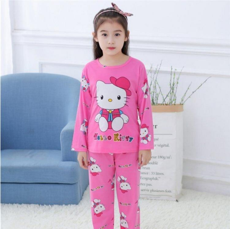 Cheap Price Boys and Girls winter warm sleepwear Big kids cartoon home clothes suit Children's long sleeved   pajamas     set