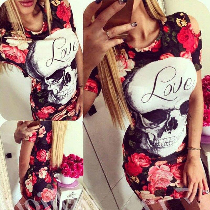 2019 hot fashion women's clothing 3D printed skull short sleeve elegant sexy bag hip summer mini dress Chic lady casual dress