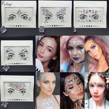 Pulaqi Bling Crystal Face 3D Stickers Party DIY Decorations Rhinestones For Eye Jewelry Accessories Party Makeup Art Stickers F f pilkington alas fair face