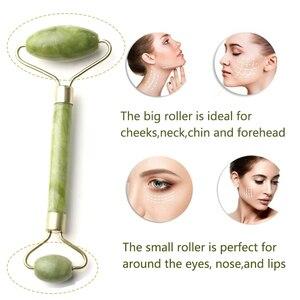 Image 3 - 1PCS Double HEAD ธรรมชาติความงามหน้านวด Jade Roller ใบหน้านวดบางผ่อนคลายเครื่องมือนวดหน้า Jade Roller