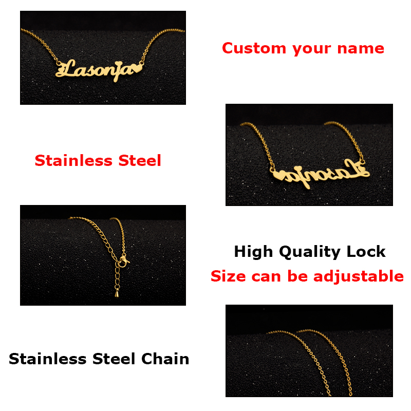 Custom Name Necklace Personalized Name Necklace Customized Your Name With Heart Jewelry Gift for Her Mothers Day Gift in Pendant Necklaces from Jewelry Accessories