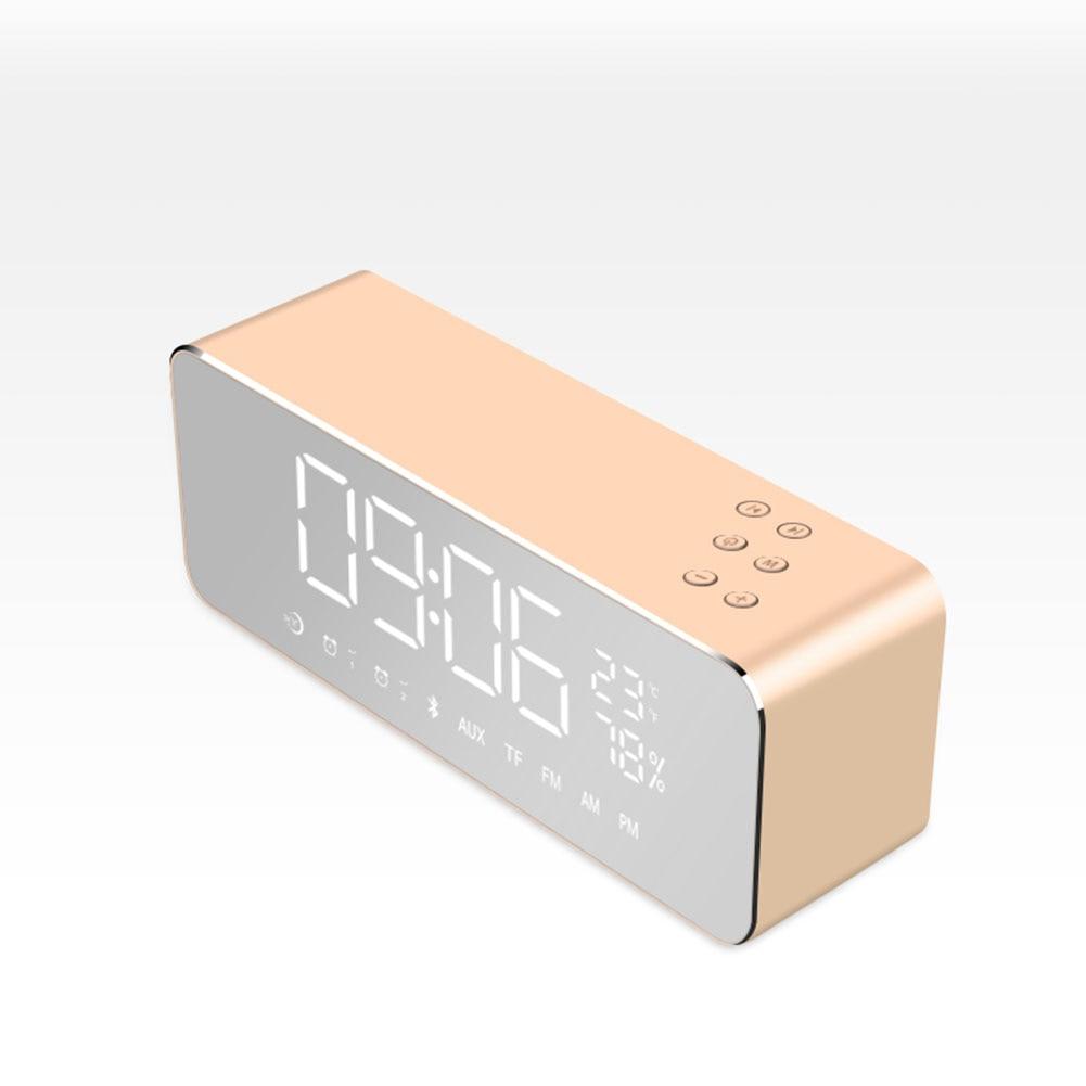 Wireless Bluetooth Speaker Subwoofer Music Sound Box Mirror LED Time Snooze Alarm Clock 2018Ing