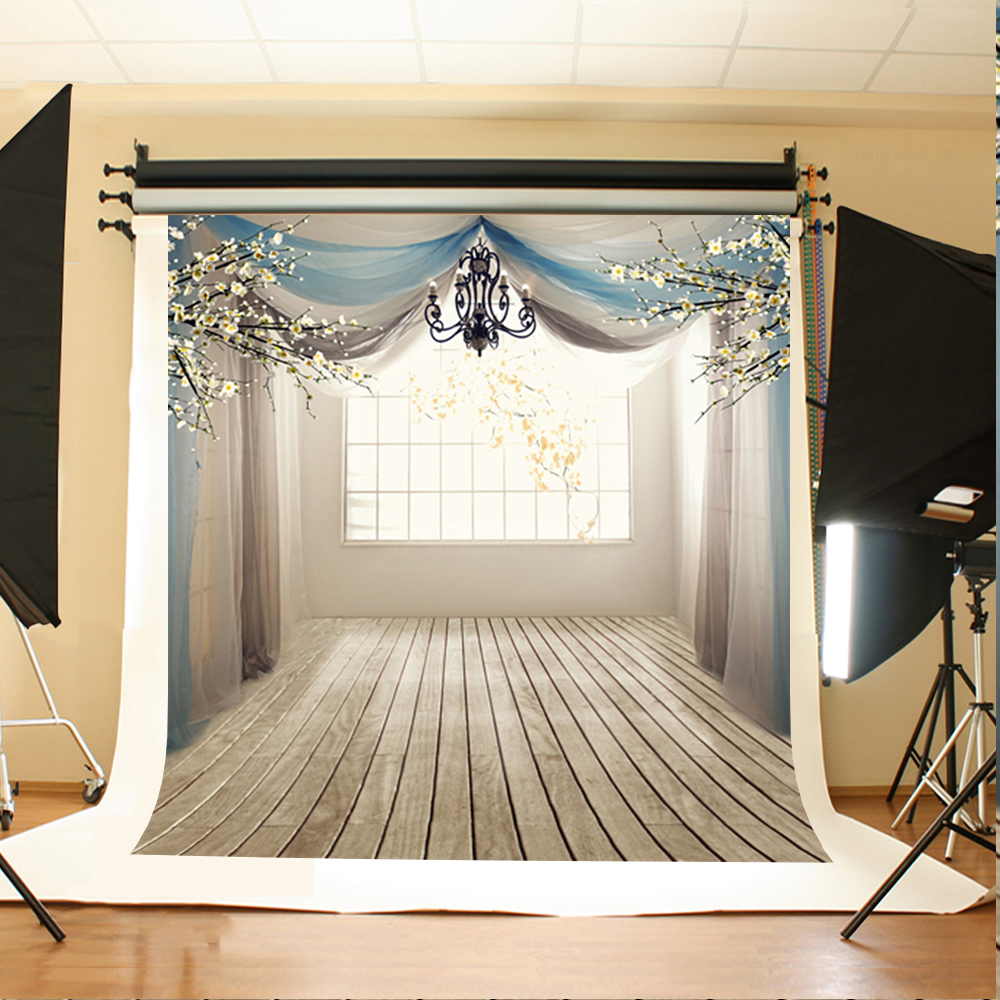 Wedding Photography Background Flowers and Branches Party Photo Backdrops Windows Wooden Floor Background for Photography Studio