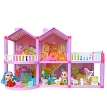 Family Doll House The With Miniature Furniture Garage Garden DIY Dollhouse Toys For Girl Gifts