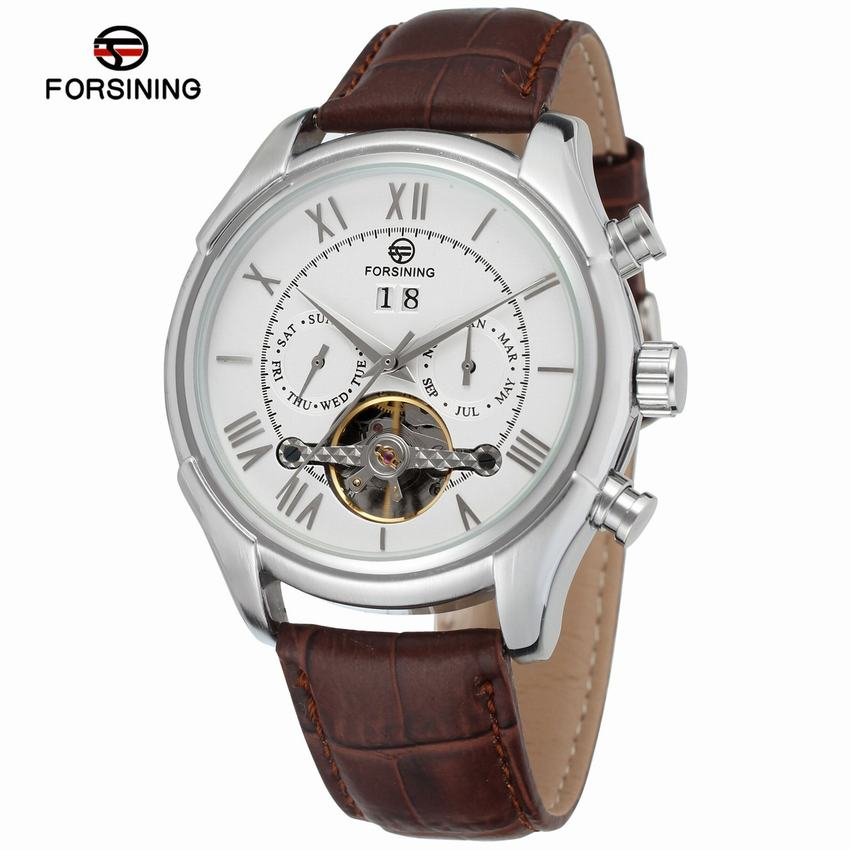FORSINING Watches Classic Mens AUTO Date automatic Mechanical Watch Self-Winding Analog Skeleton Balck Leather Man Wristwatch forsining men s watch vogue skeleton mechanical leather analog classic wristwatch color silver fsg8090m3