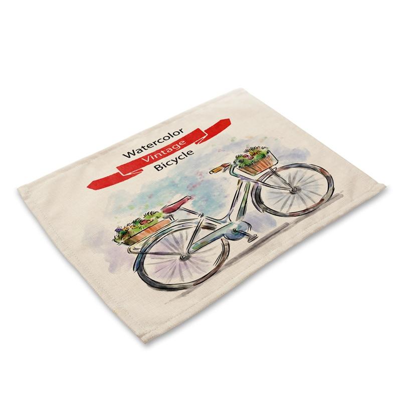 Manteles Individuales PARA CENA y cocina con estampado de bicicleta de frutas 1 Uds posavasos para