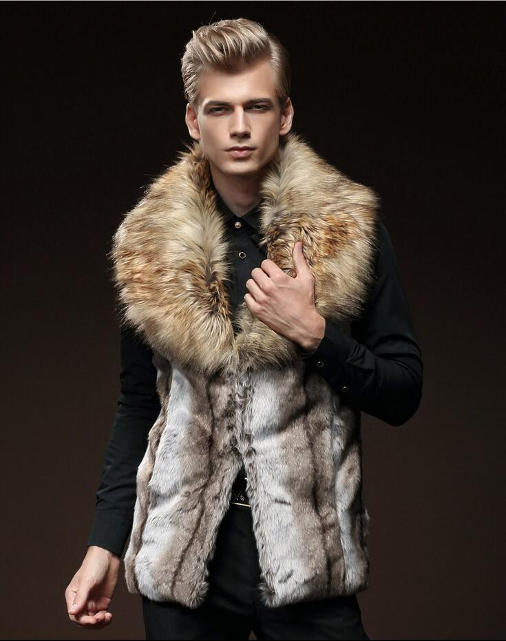 2018 New Winter Men Fur Vest Fashion Thick Fur Men Waistcoats Sleeveless Coat Outerwear Male Clothing Coats Bigger fur collar gorros femininos