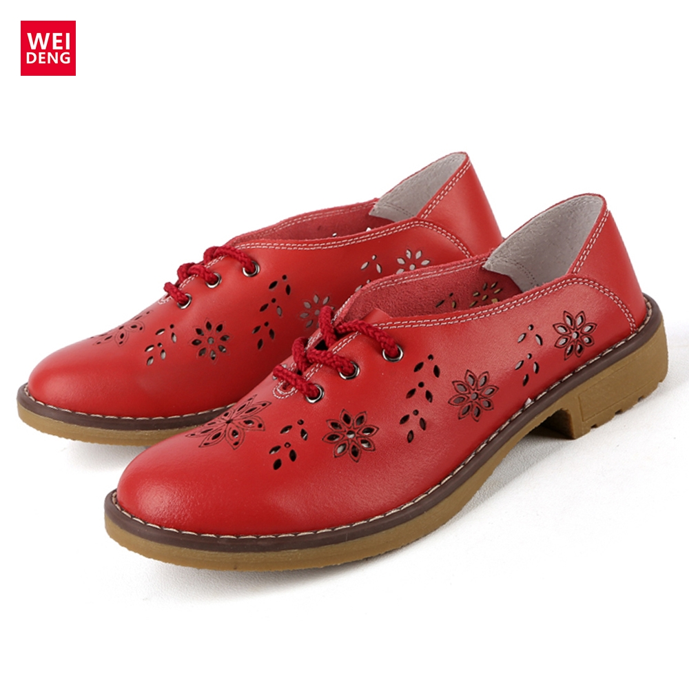WeiDeng 2017 New Brogue Genuine Leather Women Flats Loafer Casual Ladies Designer Oxford Shoes Lace Up Fashion Handmade weideng shoes women genuine leather cow suede casual oxford flats lace up non slip breathable fashion loafers zapato autumn