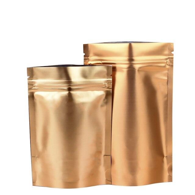 100 шт./лот золото встать Алюминий Фольга мешки для упаковки Self печать Ziplock Еда хранения Doypack крышкой на молнии вечерние сумки
