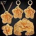 U7 requintado do vintage flor grande conjunto de jóias de ouro amarelo chapeado clássico presente de casamento conjunto de jóias de noiva para as mulheres s563