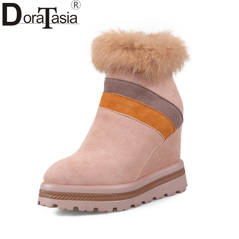 DoraTasia brand new top quality platform winter women shoes woman cow suede leather warm fur ankle boots wedges high heels brand new suede leather women platform boots famous designer high heels dress shoes woman gladiator luxury women ankle boots