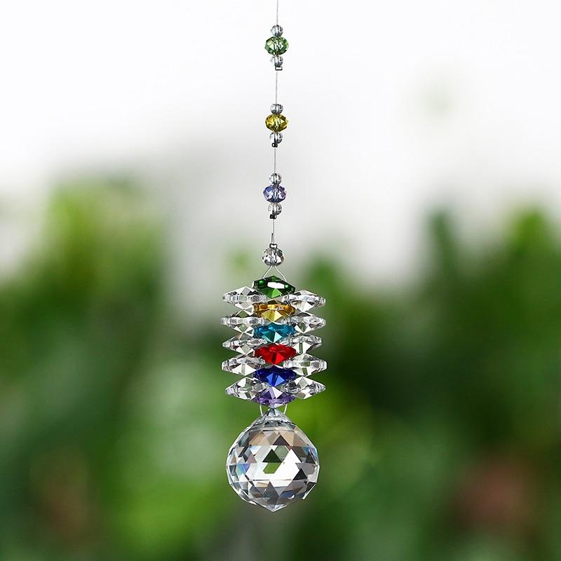 Chakra Suncatcher Chandelier Sparkling Colorful Hanging Crystal Ball Prism 30mm