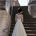 Vestido De Noiva Customized Custom made Weeding dresses New V Neck Long Sleeve Lace Wedding Dresses 2016 With Pleated Plus Size