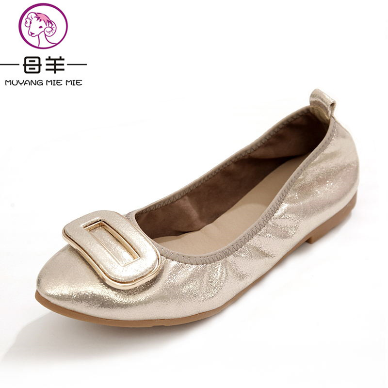 MUYANG MIE MIE Plus Size (34-43) Women flats Female Pointed Toe Soft Outsole Single Flat Shoes Woman Work Shoes Women Shoes