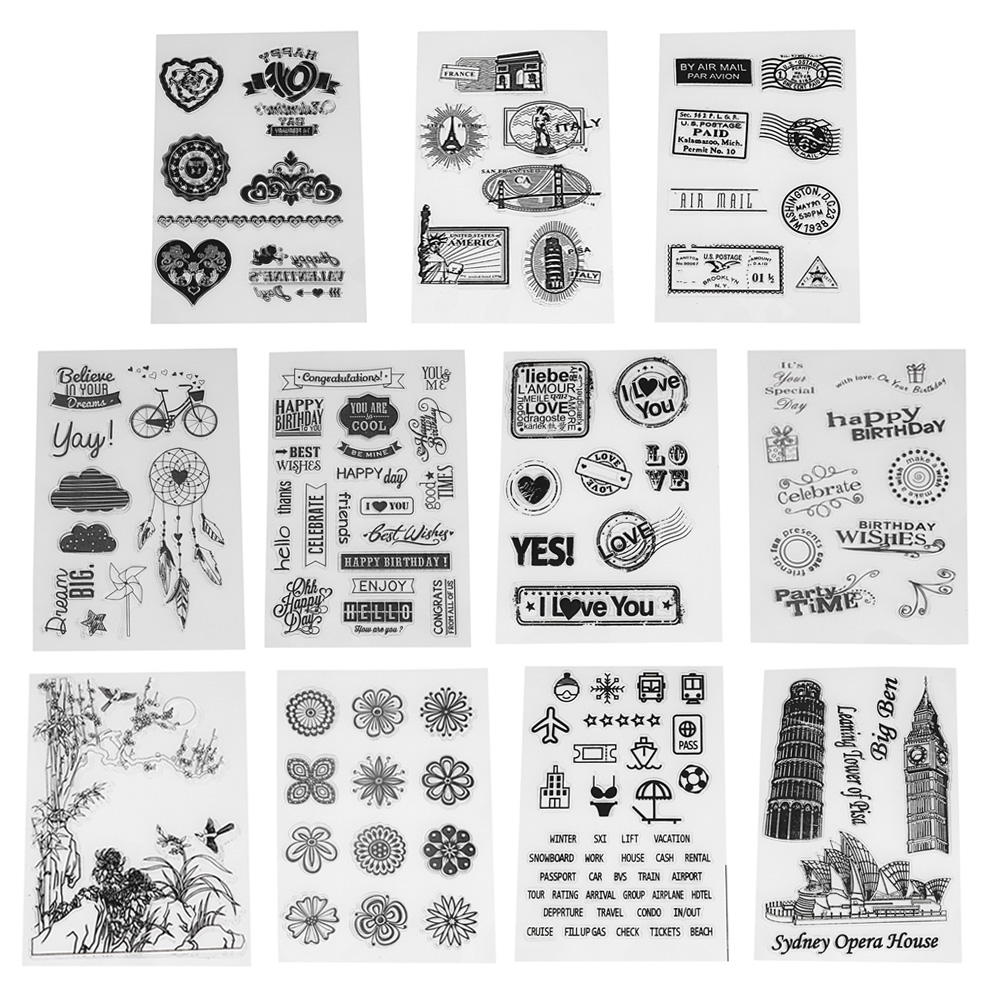 Transparenta Clear Stamps för Scrapbooking DIY Silicone Seals Card Making Photo Album Decoration Craft Tillbehör
