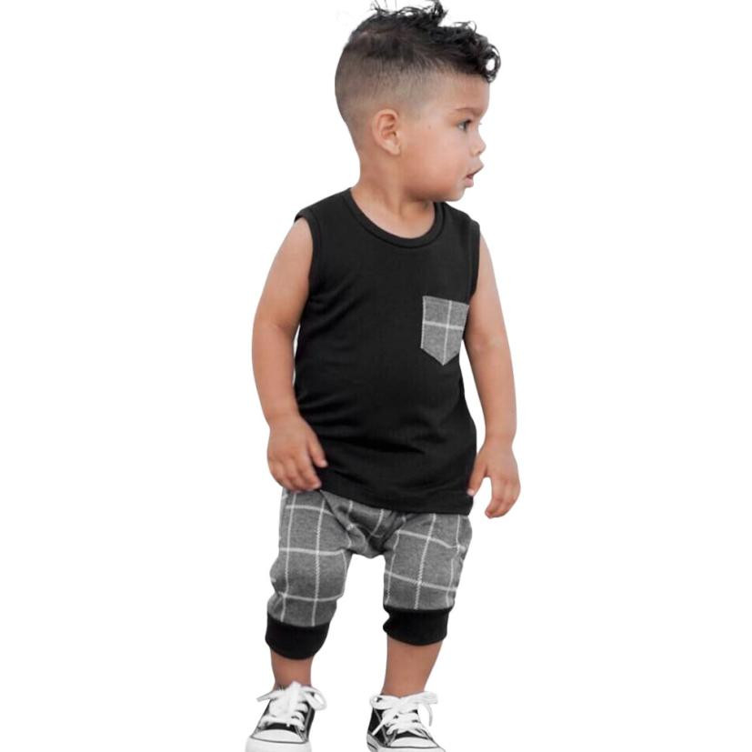 Summer Fashion Infant Toddler Baby Boys Girl Plaid Pocket Sleeveless Tops T Shirt Vest Shorts Outfits Clothes Set Newborn 3-18M