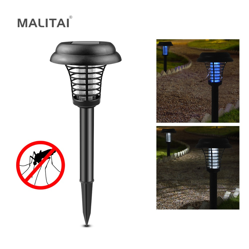 Electric Fly Bug Zapper Mosquito Insect Pest Killer Solar LED Light Control Lamp