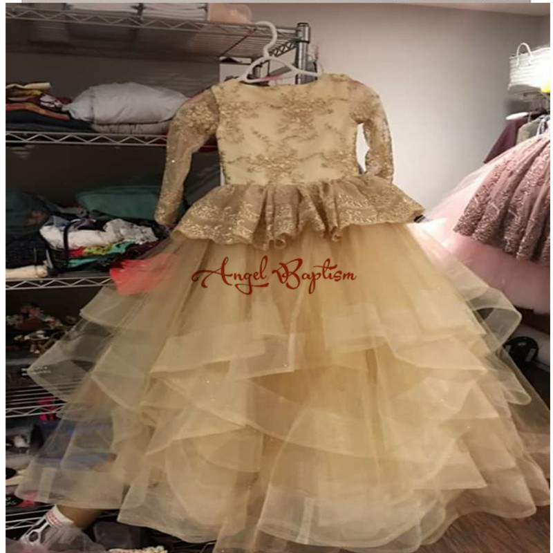 Champagne lace appliques full sleeves flower girl dresses glamorous long tiered wedding birthday pageant party ball gowns custom nice sheer short lace sleeve boat neckline ball gowns long pleated appliques wedding birthday party flower girl dresses