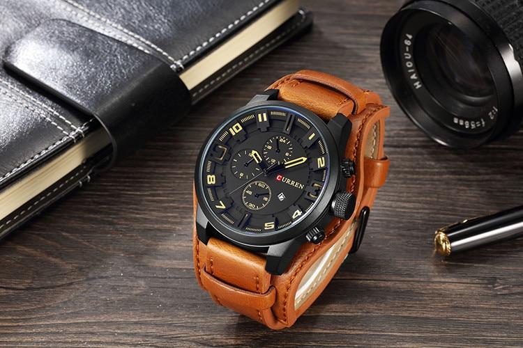 HTB1Ihr3cBiE3KVjSZFMq6zQhVXaX CURREN Top Brand Luxury Mens Watches Male Clocks Date Sport Military Clock Leather Strap Quartz Business Men Watch Gift 8225