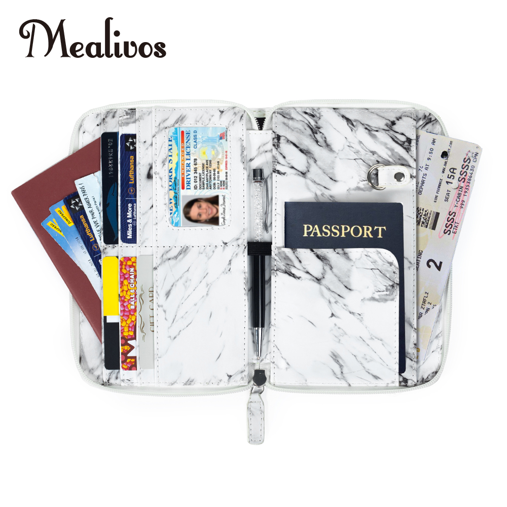 Mealivos Glitter Travel Wallet & Documents Organizer Zipper Case Family Passports Holder Marbled texture Passport Case Casual ...
