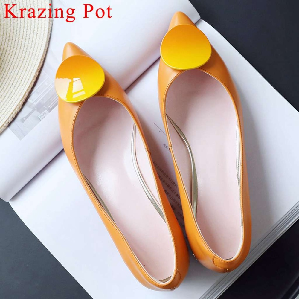 Hollywood movie stars cow leather boat shoes pregnant lazy woman yellow pink handmade oxford pointed toe
