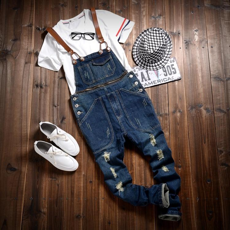 ФОТО Japanese Style Slim Fit Denim Overalls Bib Pants For Men Spring 2016 Mens Ripped Denim Jean Jumpsuit Washed Blue Long Trousers