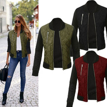 Plus Size 3XL Cotton Jacket Slim Women Basic Coats Bomber Jackets Zipper Autumn Winter Coat Jacket Bomber Jacket Apparel Outfit недорого