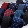 2016 Nuevos Hombres de la Marca de Moda de Punto A Rayas Corbatas Corbata de la Tela Escocesa Hombre 6 cm Gravata Delgada Corbata de Boda de Visita Clásica Corbata Para hombres