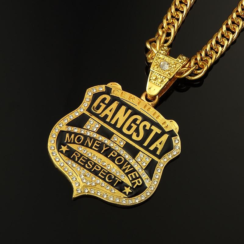 Hip Hop Ice Out GANGSTA OK Letter Necklace Mens Bling Bling Hip ...