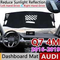Para Audi Q7 4 M 2016 2017 2018 2019 Anti-Slip Mat Pad Cover Dashboard Sol Anti-UV Sombra Dashmat proteger Acessórios Do Tapete S-line