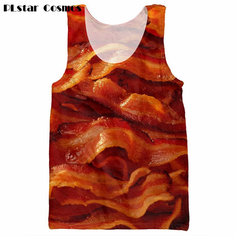 PLstar Cosmos brand clothers Bacon 3d vest Harajuku Tank Tops Food printing Men Women funny 3D Tank Top Summer Vest size S-5XL