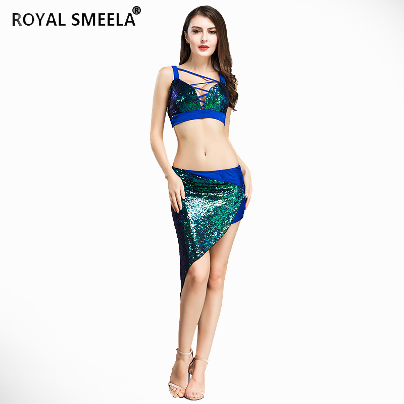 women Free shipping sequin belly dance shinning set metal buckle belly dancing costomes dancer suit Bra & skirt 8819