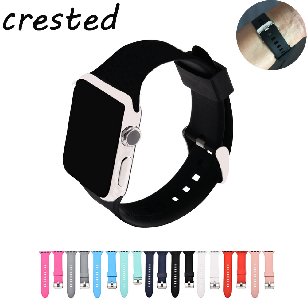 все цены на CRESTED sport silicone watch strap for apple watch band 42 mm 38mm rubber wrist bracelet watchband for apple-watch iwatch 3/2/1 онлайн